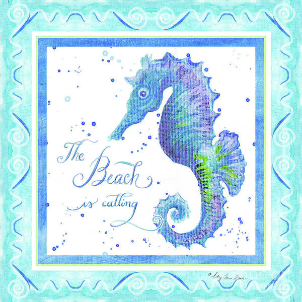 Wall Art - Painting - Sand 'n Sea - Seahorse The Beach Is Calling by Audrey Jeanne Roberts
