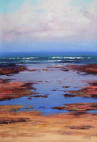 Coastal Scene Painting - Sand Sea And Sky by Graham Gercken