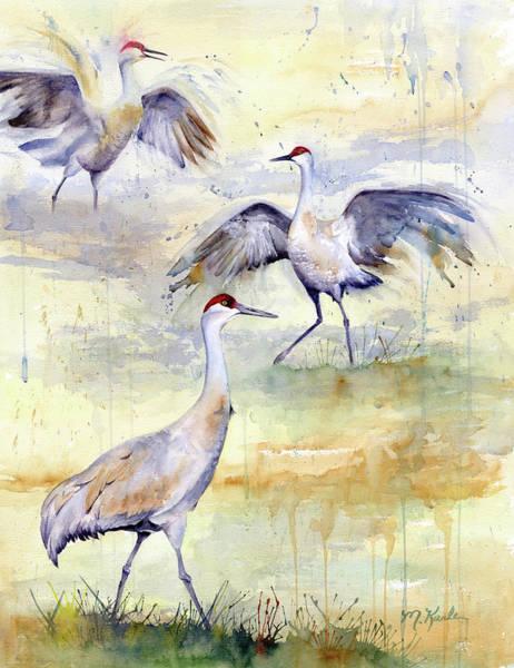 Painting - Wetlands Courtship - Sandhill Cranes by Marsha Karle