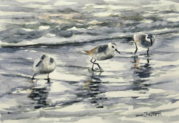 Painting - Sandpipers 3  12-11-17 by Julianne Felton