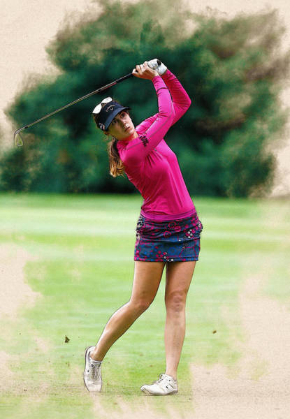 Paula Digital Art - Sandra Gal Of Germany Tees Hits On The 14th Hole by Don Kuing