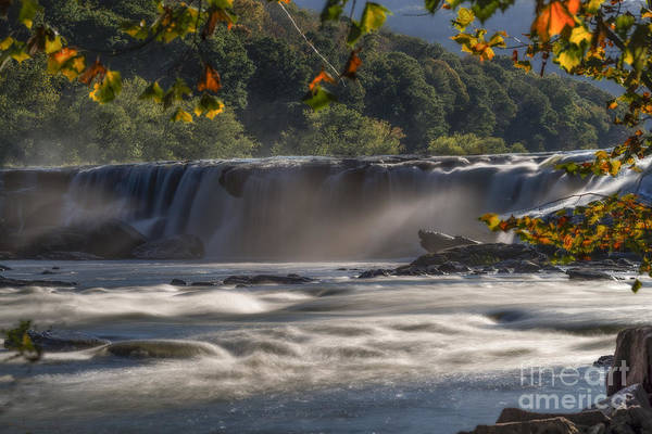 Photograph - Sandstone Falls In The Fall Back Lite Mist by Dan Friend