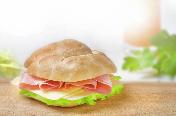 Ingredient Digital Art - Sandwich With Ham And Green Lettuce And Cheese by Matjaz Preseren