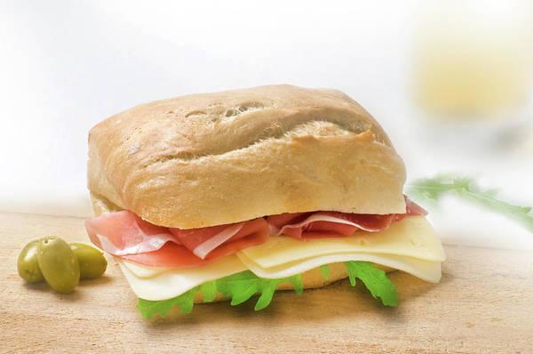 Ingredient Digital Art - Sandwich With Prosciutto Cheese And Rukola by Matjaz Preseren