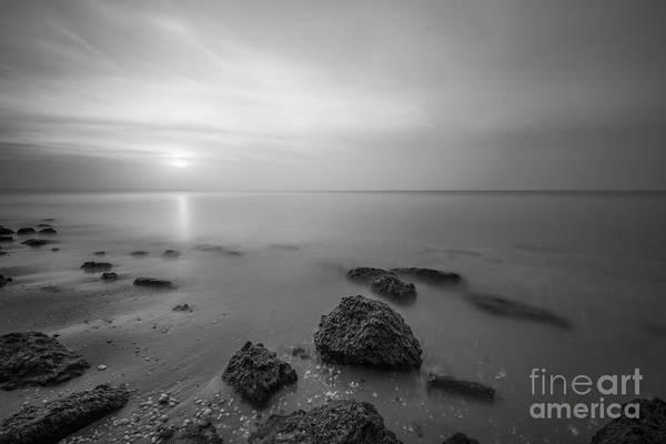 High Tide Photograph - Sandy Hook New Jersey Sunset Bw by Michael Ver Sprill