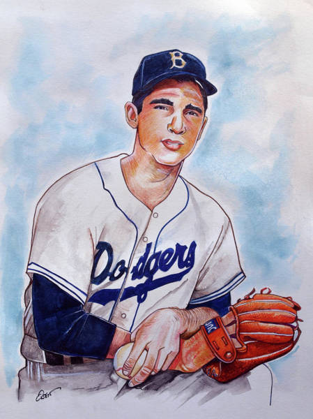 Wall Art - Drawing - Sandy Koufax by Dave Olsen