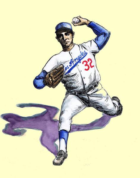 Pitchers Drawing - Sandy Koufax by Mel Thompson