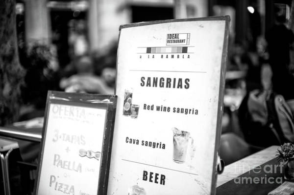 Photograph - Sangrias In Barcelona by John Rizzuto