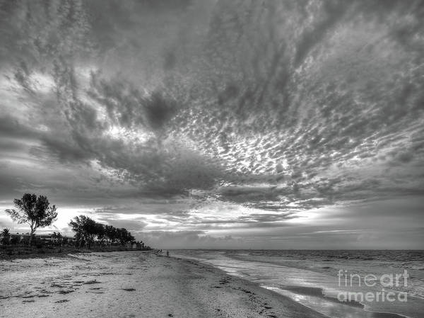 Photograph - Sanibel Island Sunrise In Black And White by Jeff Breiman