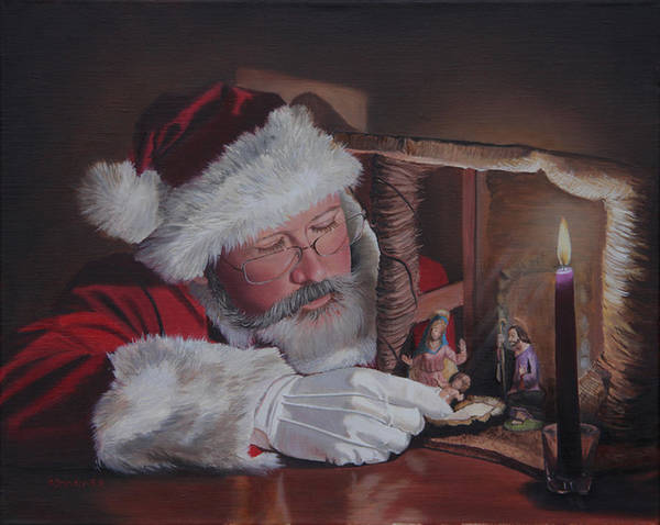 Wall Art - Painting - Santa At The Nativity by Cecilia Brendel