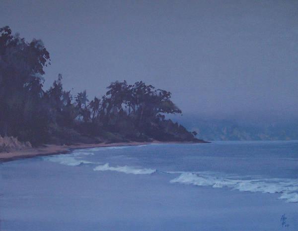 Santa Barbara Beach At Twilight Art Print by Philip Fleischer