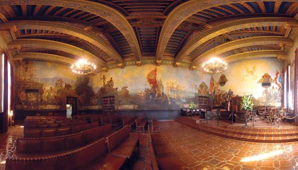Mission Santa Barbara Photograph - Santa Barbara Court House Mural Room Photograph by Brian Lockett