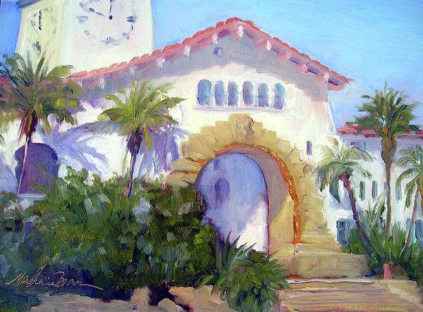 Santa Barbara Courthouse Painting - Santa Barbara Courthouse Arch by Marie-Therese  Brown