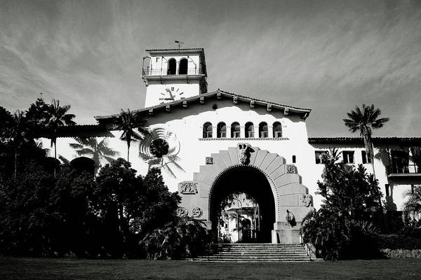 Mixed Media - Santa Barbara Courthouse Black And White-by Linda Woods by Linda Woods