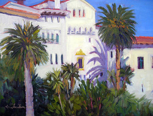 Santa Barbara Courthouse Painting - Santa Barbara Courthouse Palms by Marie-Therese  Brown