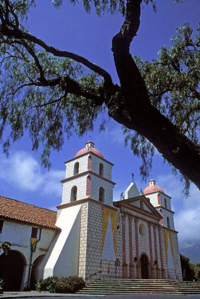 Mission Santa Barbara Photograph - Santa Barbara Mission With Tree by Kathy Yates