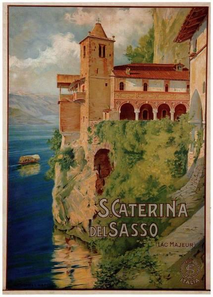 Santa Mixed Media - Santa Caterina Del Sasso - Lombardy, Italy - Retro Travel Poster - Vintage Poster by Studio Grafiikka