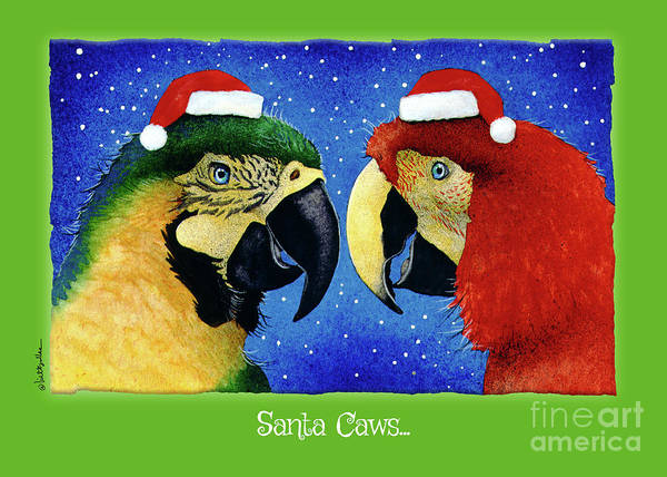 Painting - Santa Caws... by Will Bullas