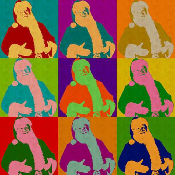 Digital Art - Santa Claus Andy Warhol Style by Anthony Murphy