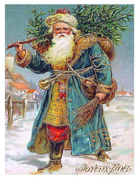 Christmas Tree Digital Art - Santa Claus Bringing A Christmas Tree by Long Shot