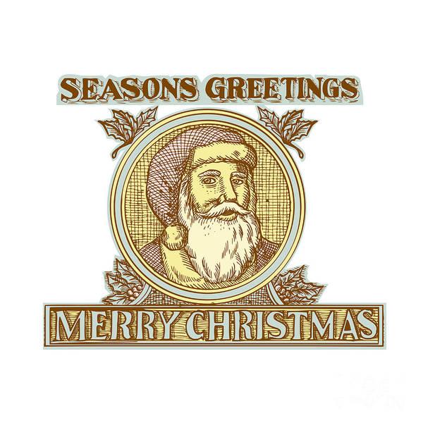 Yule Digital Art - Santa Claus Father Christmas Holly Etching by Aloysius Patrimonio