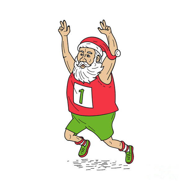 Yule Digital Art - Santa Claus Father Christmas Running Marathon Cartoon by Aloysius Patrimonio