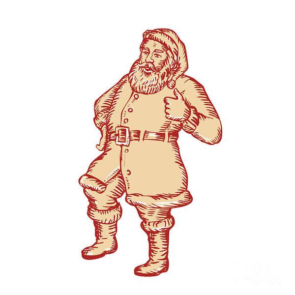 Yule Digital Art - Santa Claus Father Christmas Thumbs Up Etching by Aloysius Patrimonio
