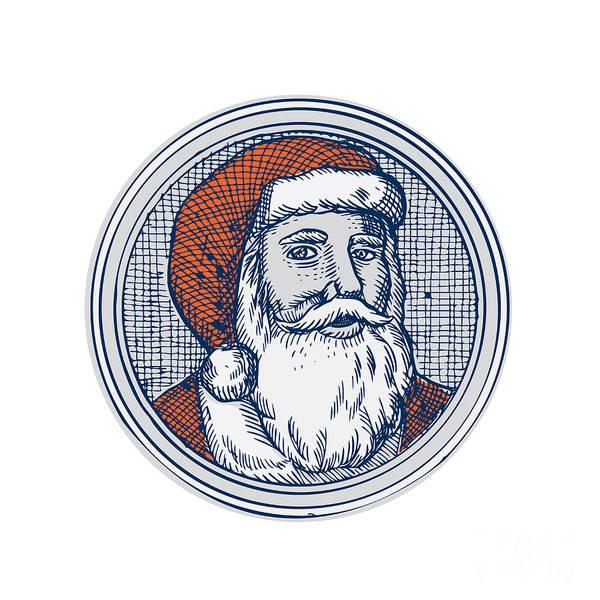 Yule Digital Art - Santa Claus Father Christmas Vintage Etching by Aloysius Patrimonio
