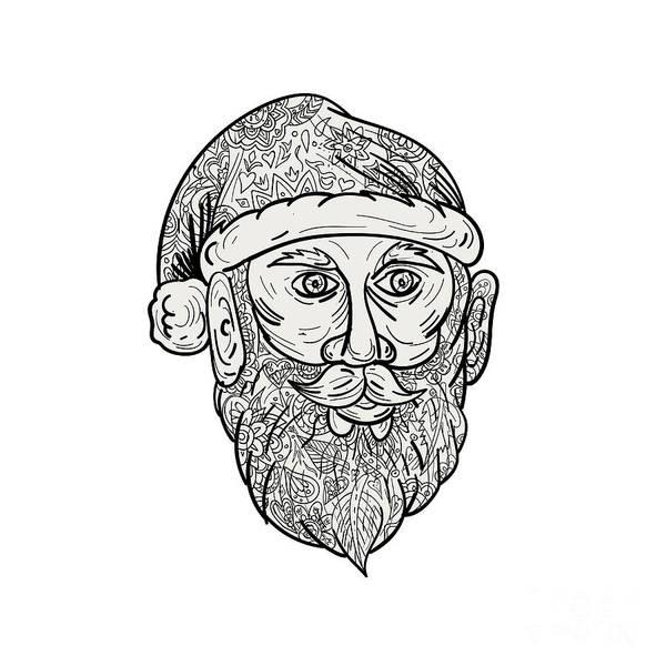 Yule Digital Art - Santa Claus Head Mandala by Aloysius Patrimonio