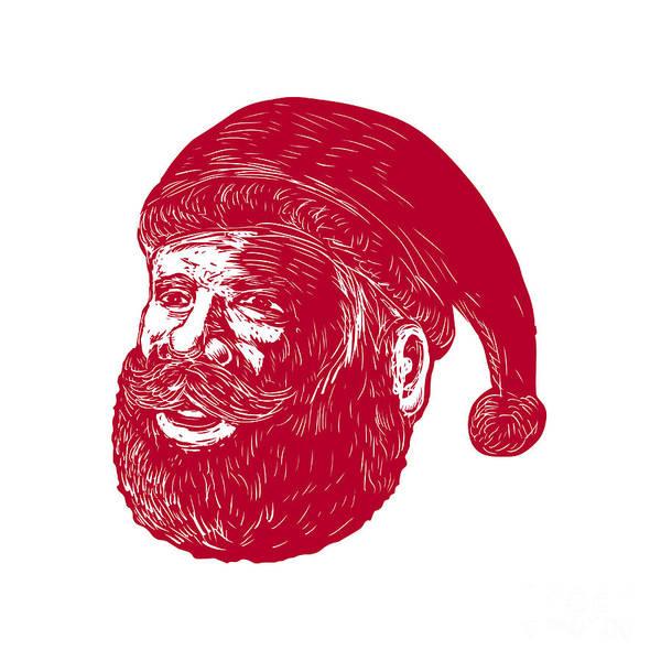 Yule Digital Art - Santa Claus Head Woodcut by Aloysius Patrimonio