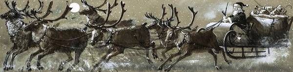 Full Moon Painting - Santa Claus In His Sleigh by English School