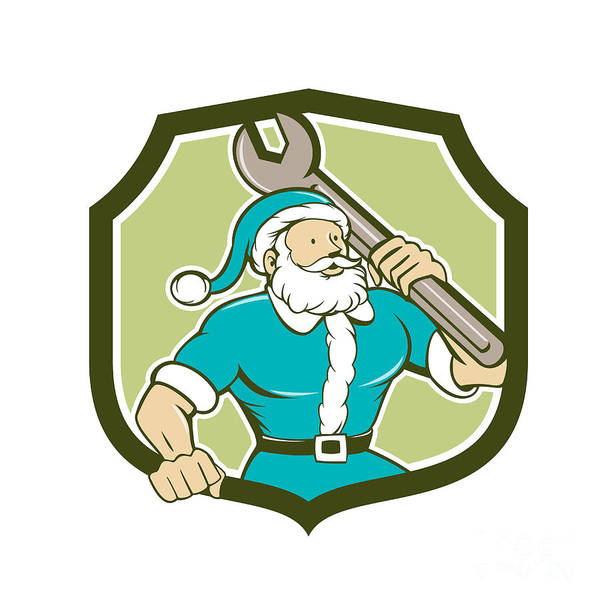Yule Digital Art - Santa Claus Mechanic Spanner Shield Cartoon by Aloysius Patrimonio