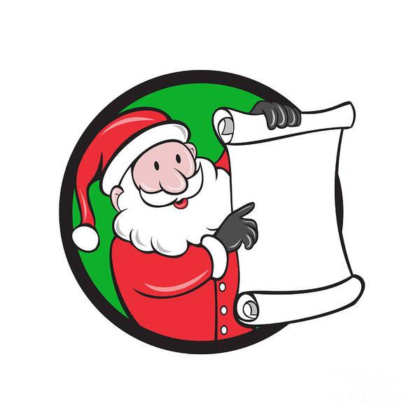 Yule Digital Art - Santa Claus Paper Scroll Pointing Circle Cartoon by Aloysius Patrimonio