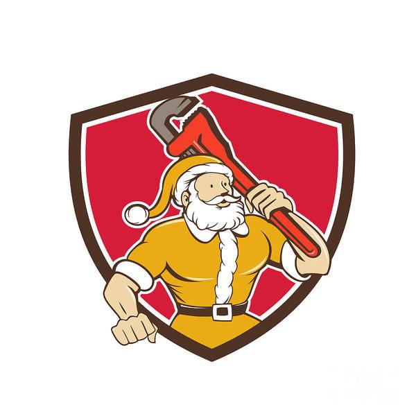 Yule Digital Art - Santa Claus Plumber Monkey Wrench Shield Cartoon by Aloysius Patrimonio