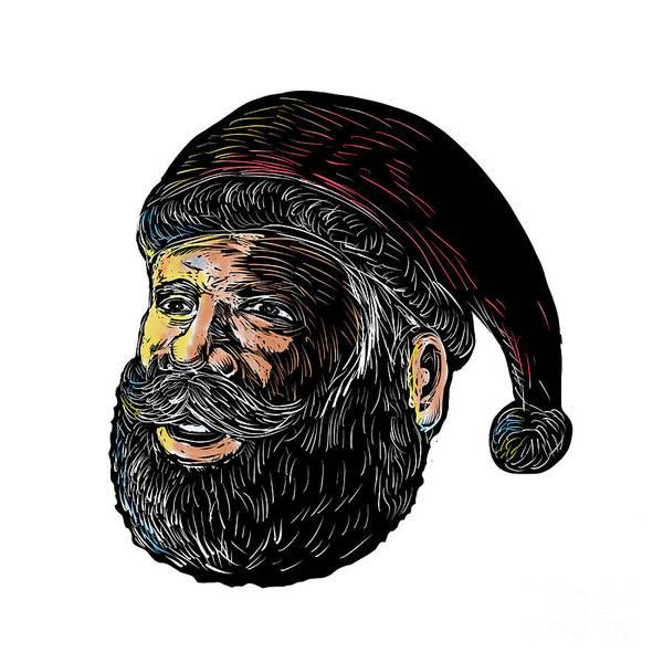 Yule Digital Art - Santa Claus Three-quarter View Scratchboard by Aloysius Patrimonio