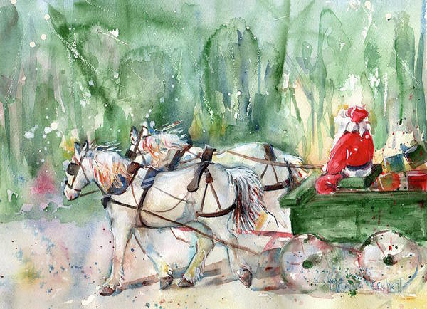 Pulling Painting - Santa Claus Is Coming To Town by Maria Reichert