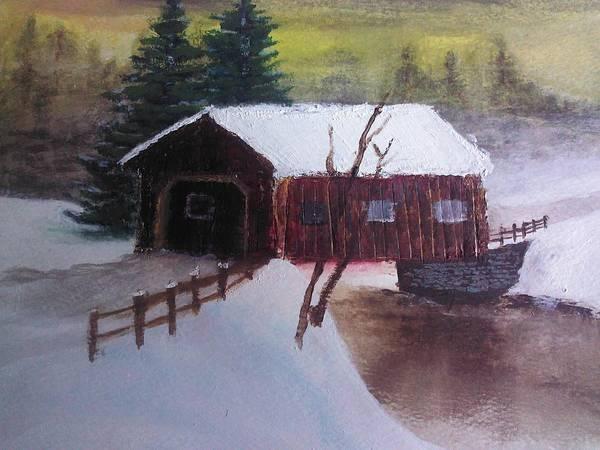 Wall Art - Painting - Santa Clause Sleigh Route Covered Bridge 1 by Jason Layne