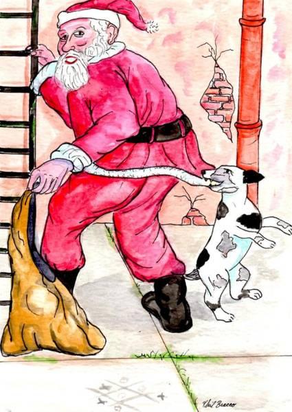 Mixed Media - Santa Climbs The Ladder by Philip Bracco