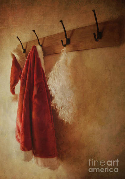 Wall Art - Photograph - Santa Costume Hanging On Coat Hook/digital Painting  by Sandra Cunningham