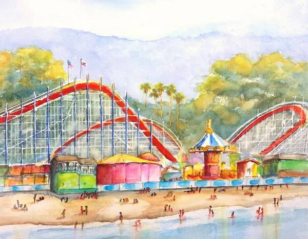 West Bay Painting - Santa Cruz Beach Boardwalk by Carlin Blahnik CarlinArtWatercolor