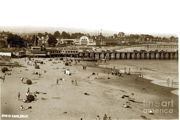Photograph - Santa Cruz Beach With Ideal Fish Restaurant 1930's by California Views Archives Mr Pat Hathaway Archives