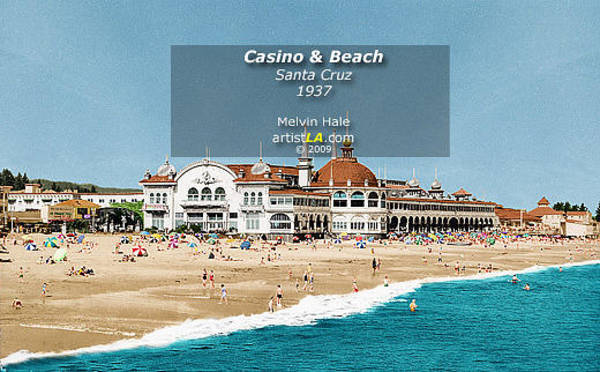 Wall Art - Painting - Santa Cruz Boardwalk Art Entitled Casino And Beach Circa 1937 by Melvin Hale
