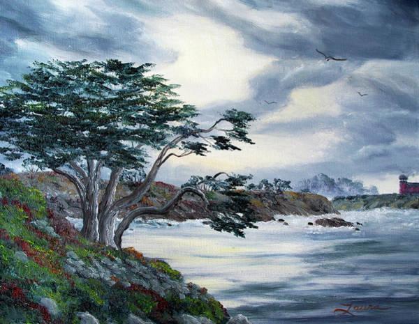 Bluffs Painting - Santa Cruz Cypress Tree by Laura Iverson