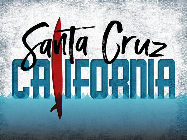 California Beaches Digital Art - Santa Cruz Red Surfboard	 by Flo Karp