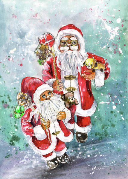 Painting - Santa Father And Son by Miki De Goodaboom