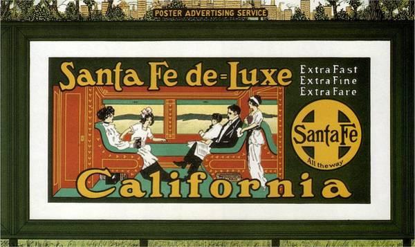 Santa Mixed Media - Santa Fe De Luxe California - Railway - Retro Travel Poster - Vintage Poster by Studio Grafiikka