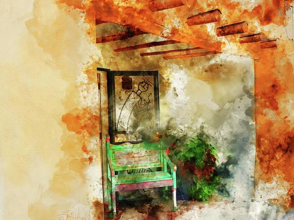 Brick House Mixed Media - Santa Fe Patio by Kevin O'Hare