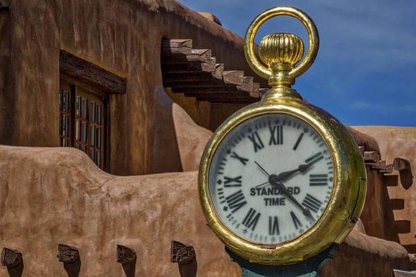 Wall Art - Photograph - Santa Fe Plaza Clock by Stuart Litoff