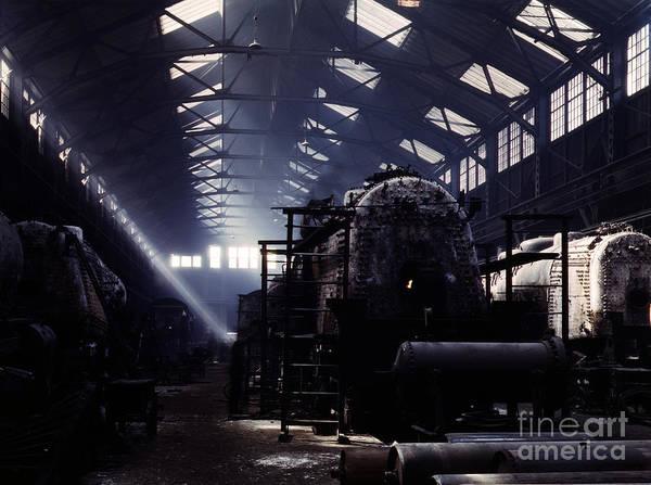 Painting - Santa Fe Railroad Locomotive Shop by Celestial Images