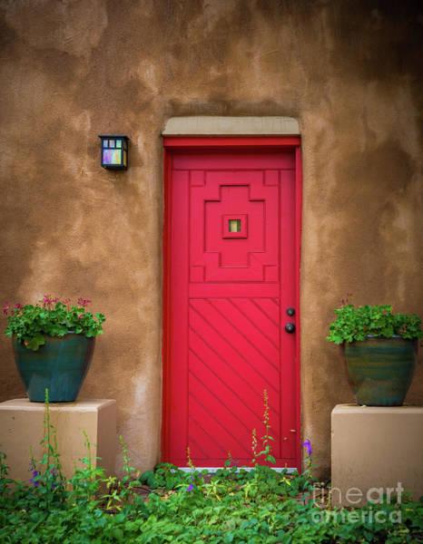 Photograph - Santa Fe Red Door by Inge Johnsson